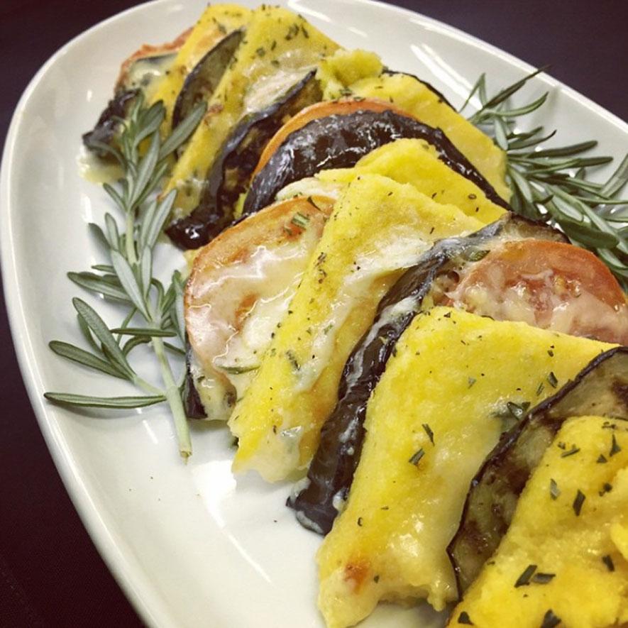 Layered Eggplant Polenta Bake