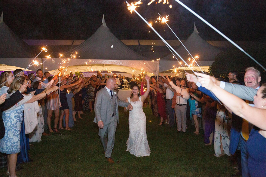 Bride and Groom Sparkler Farewell Walk