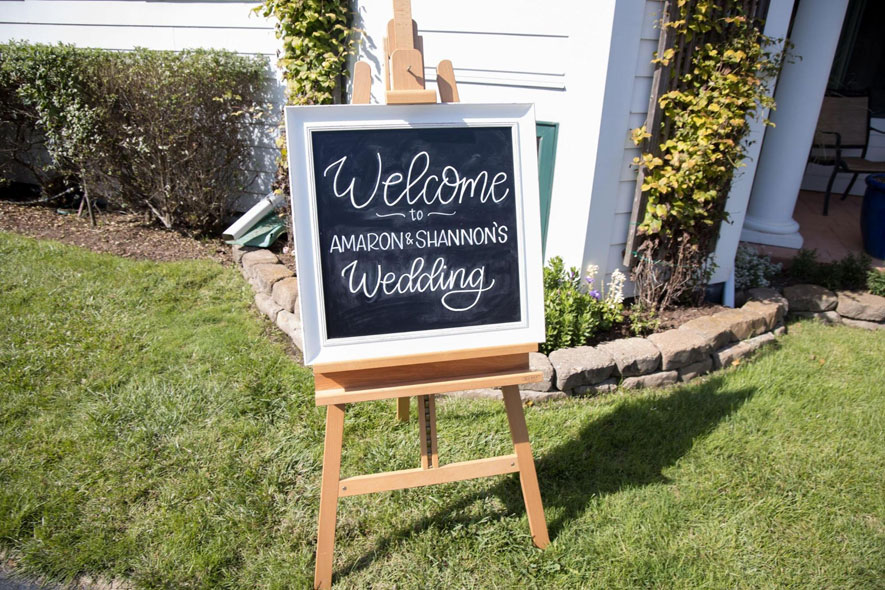 Chalkboard Welcome Sign at Wedding Ceremony